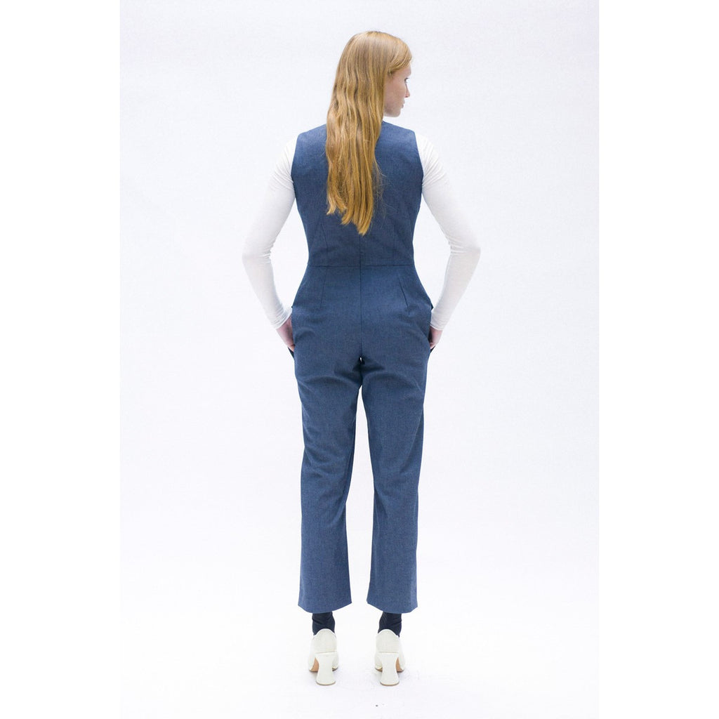 Women Sleeveless denim jumpsuit The Woods Made In Paris - THE WOODS
