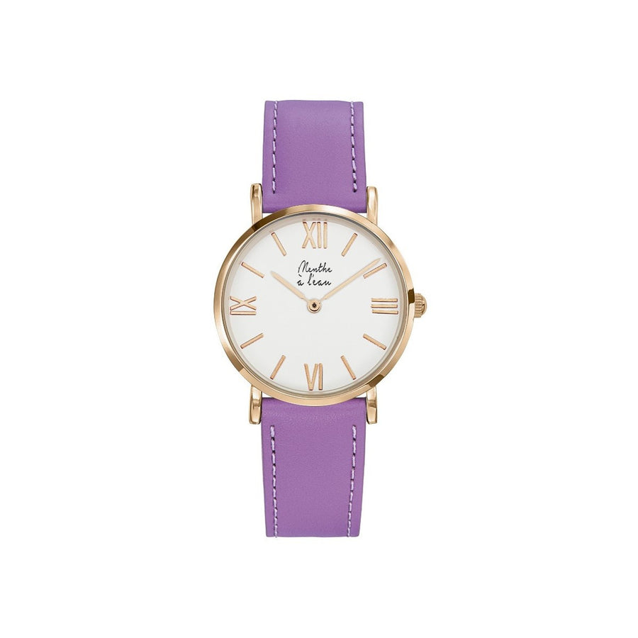 Women Designer Watches Purple Leather Bracelet Menthe A l'Eau - Menthe a l'eau