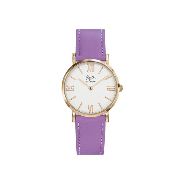 Women Designer Watches Purple Leather Bracelet Menthe A l'Eau