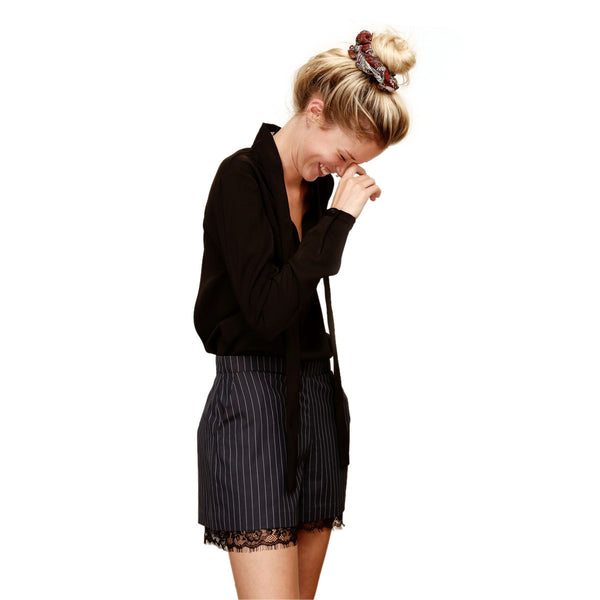 Women Silk Black Blouse with tie collar