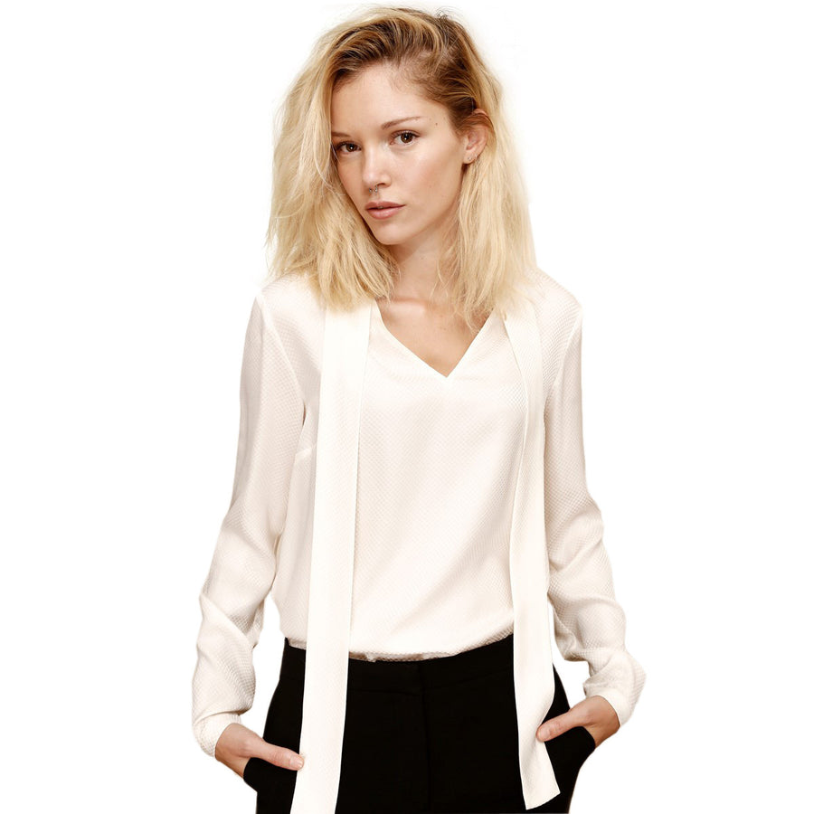 Women Silk White Blouse with tie collar - LAURA LAVAL PARIS