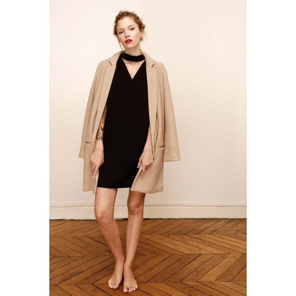 Straight Tailored Coat Camel - LAURA LAVAL PARIS