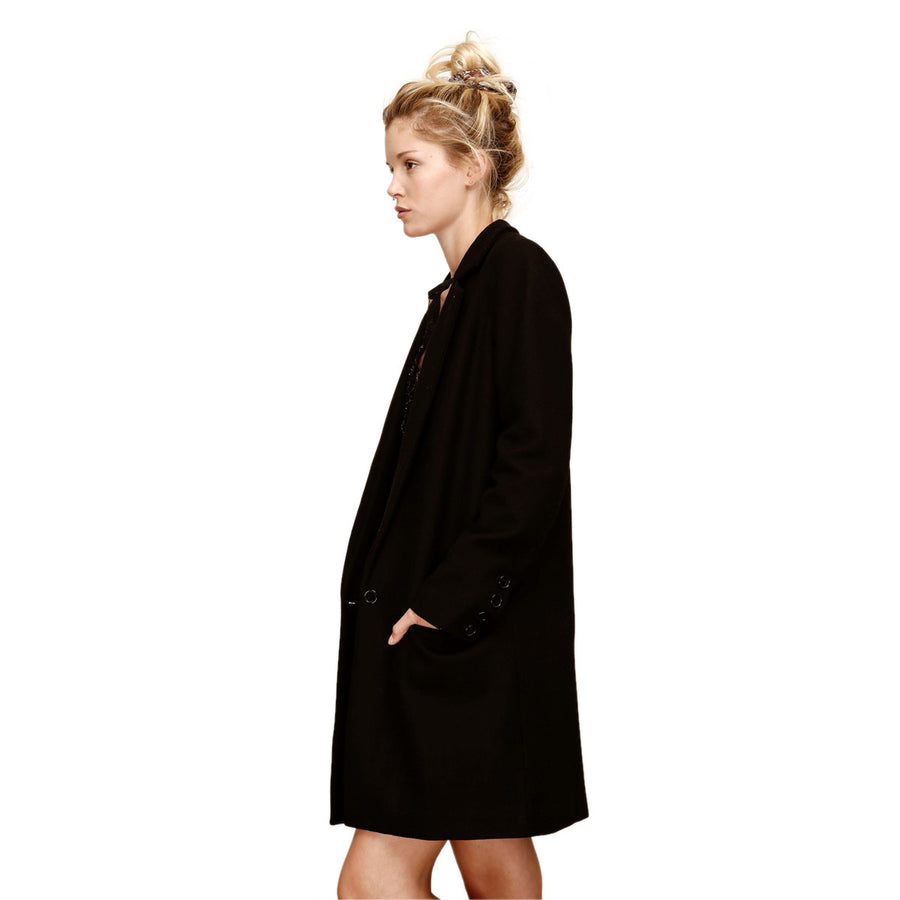 Women Straight Tailored Black Wool Coat - LAURA LAVAL PARIS