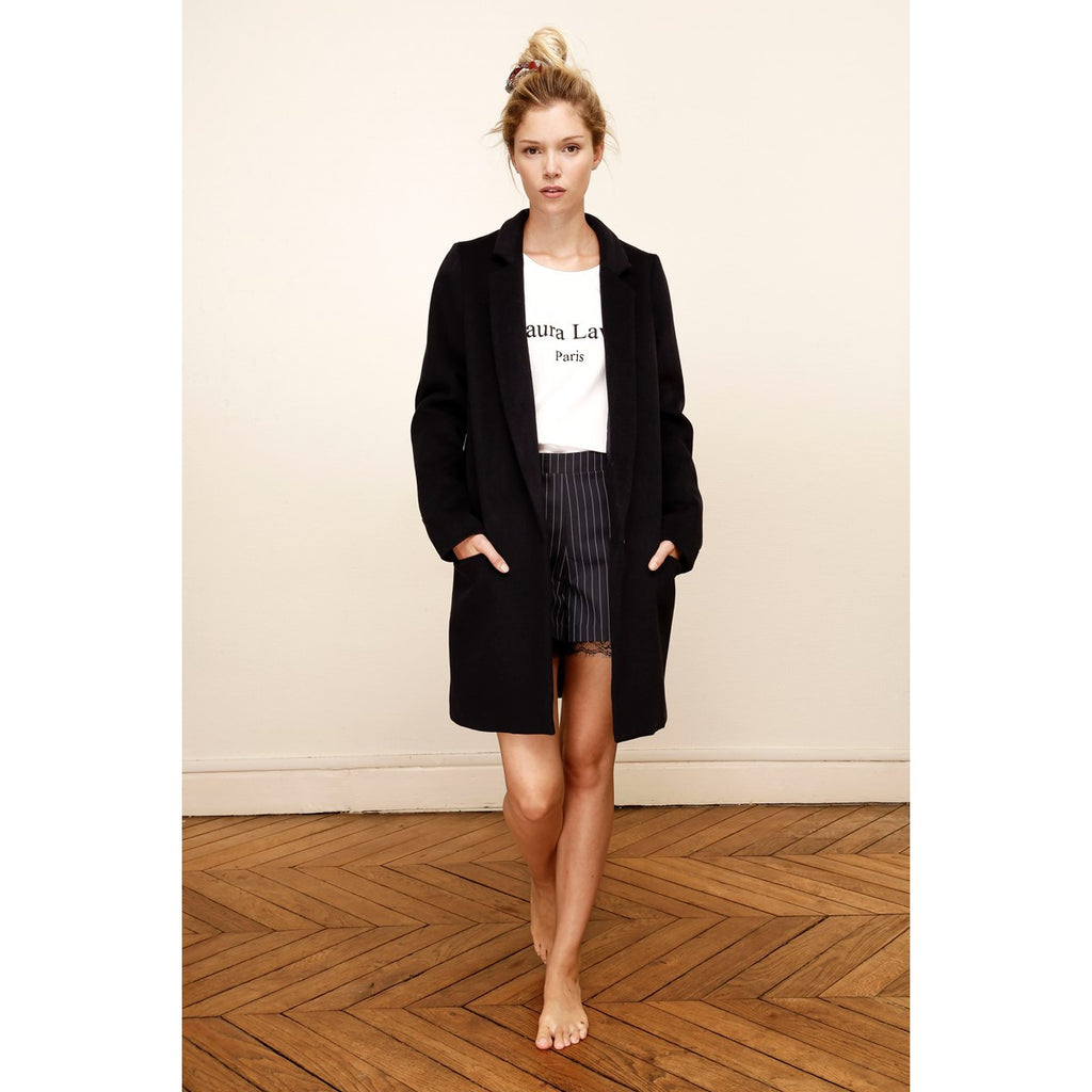 Women Straight Tailored Black Coat