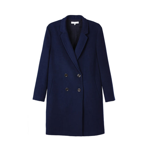 Women Straight Navy Coat Alexandra Sunday Life