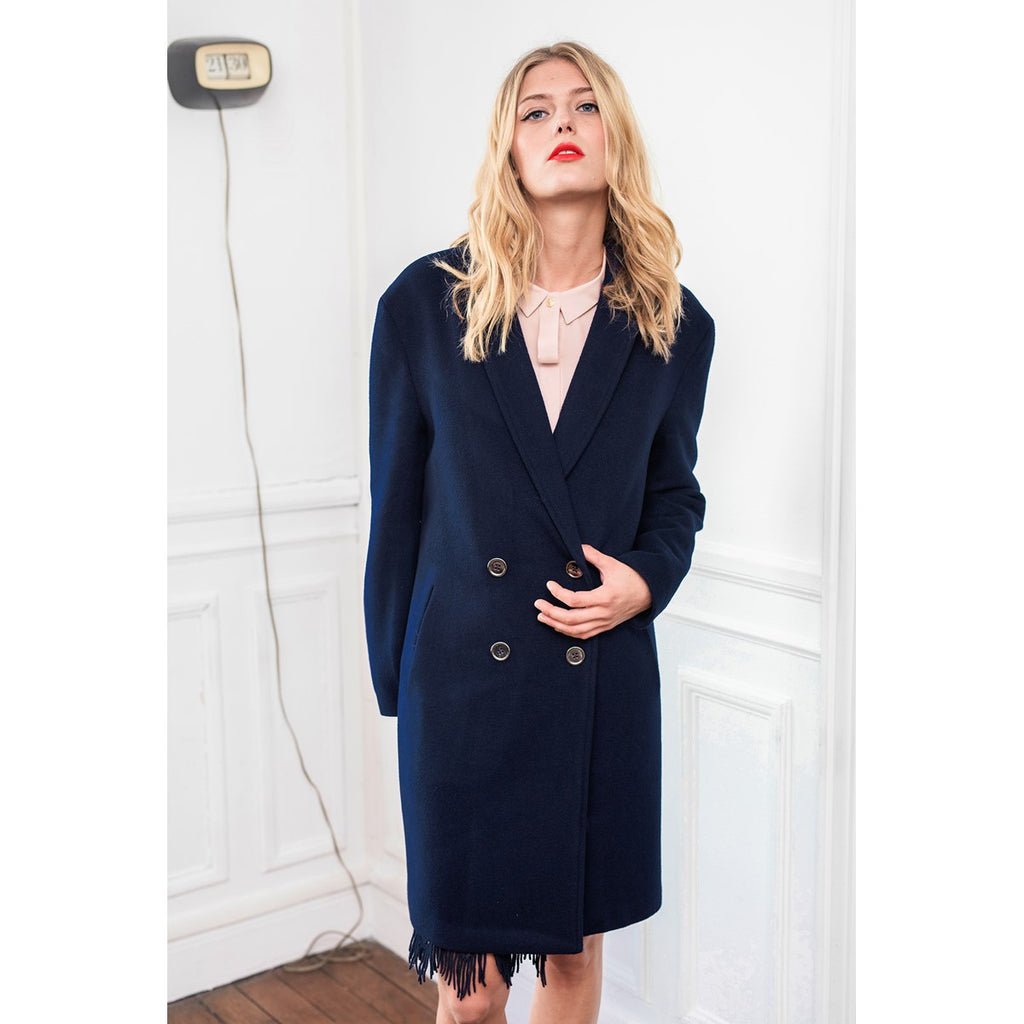 Women Straight Navy Coat Alexandra Sunday Life - Sunday Life
