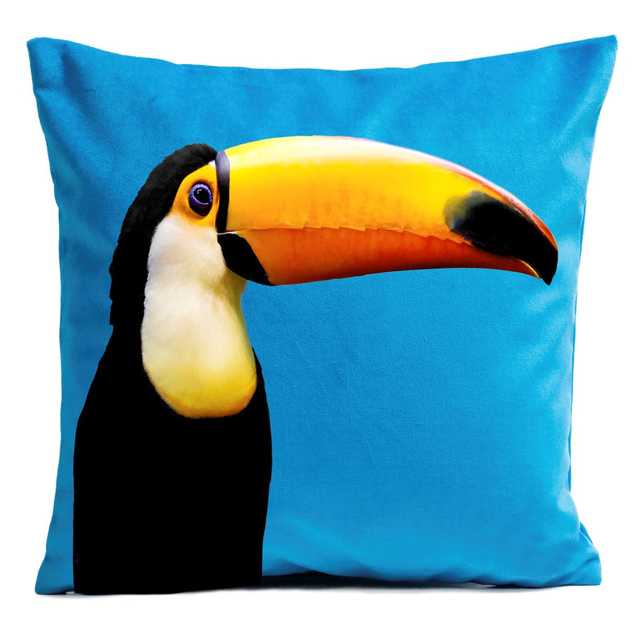 Artpilo Cushion Cover Animals Blue Velvet - Toucan - Artpilo