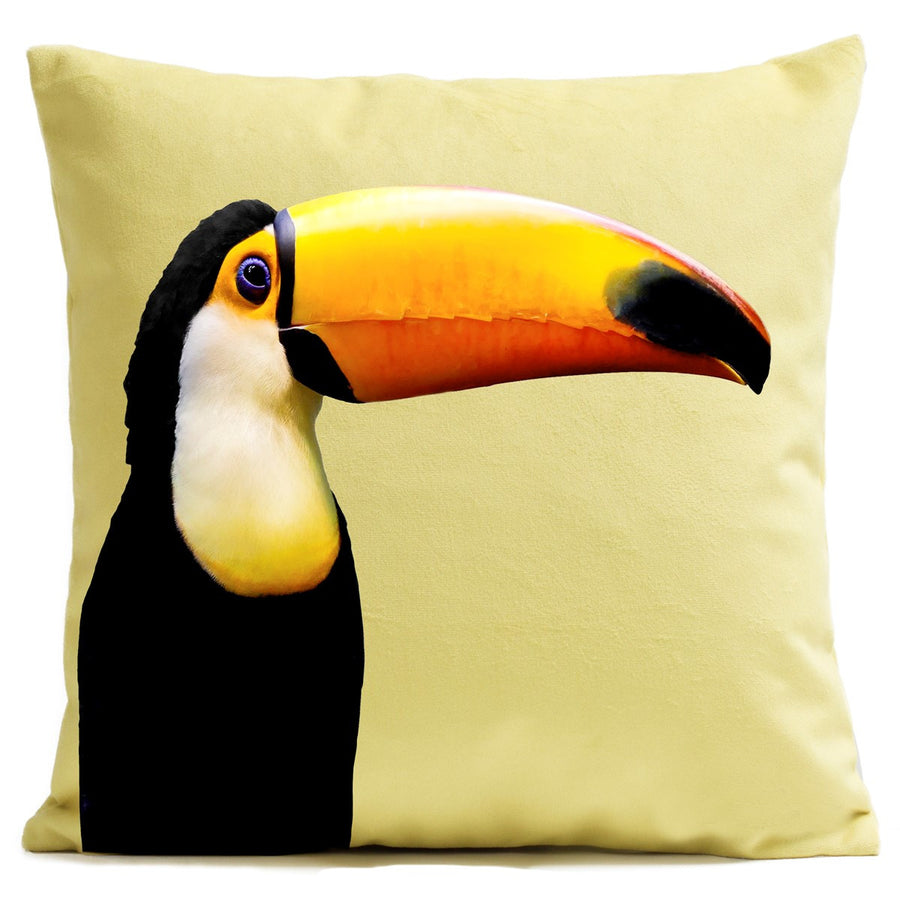 Artpilo Cushion Cover Animals Yellow Velvet - Toucan - Artpilo
