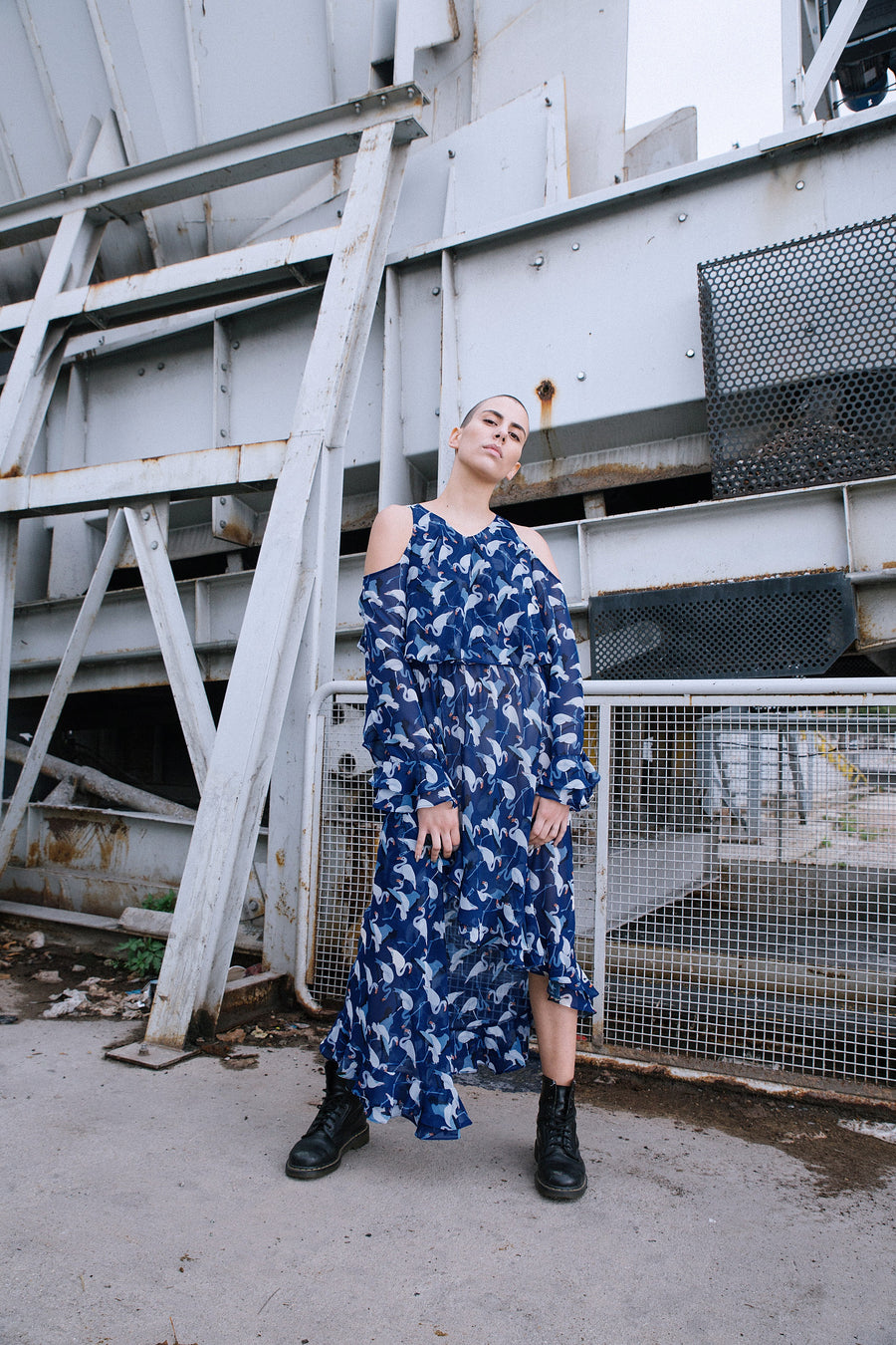 Blue Long Printed dress by Edouard Lecouturier