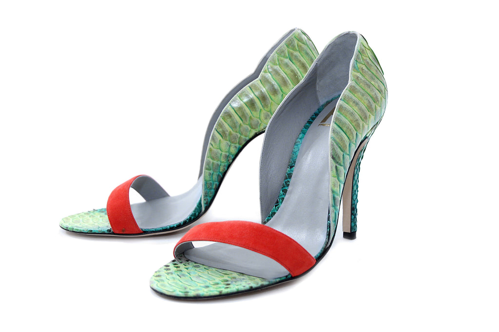 Pierrette green python pumps - Fred Marzo