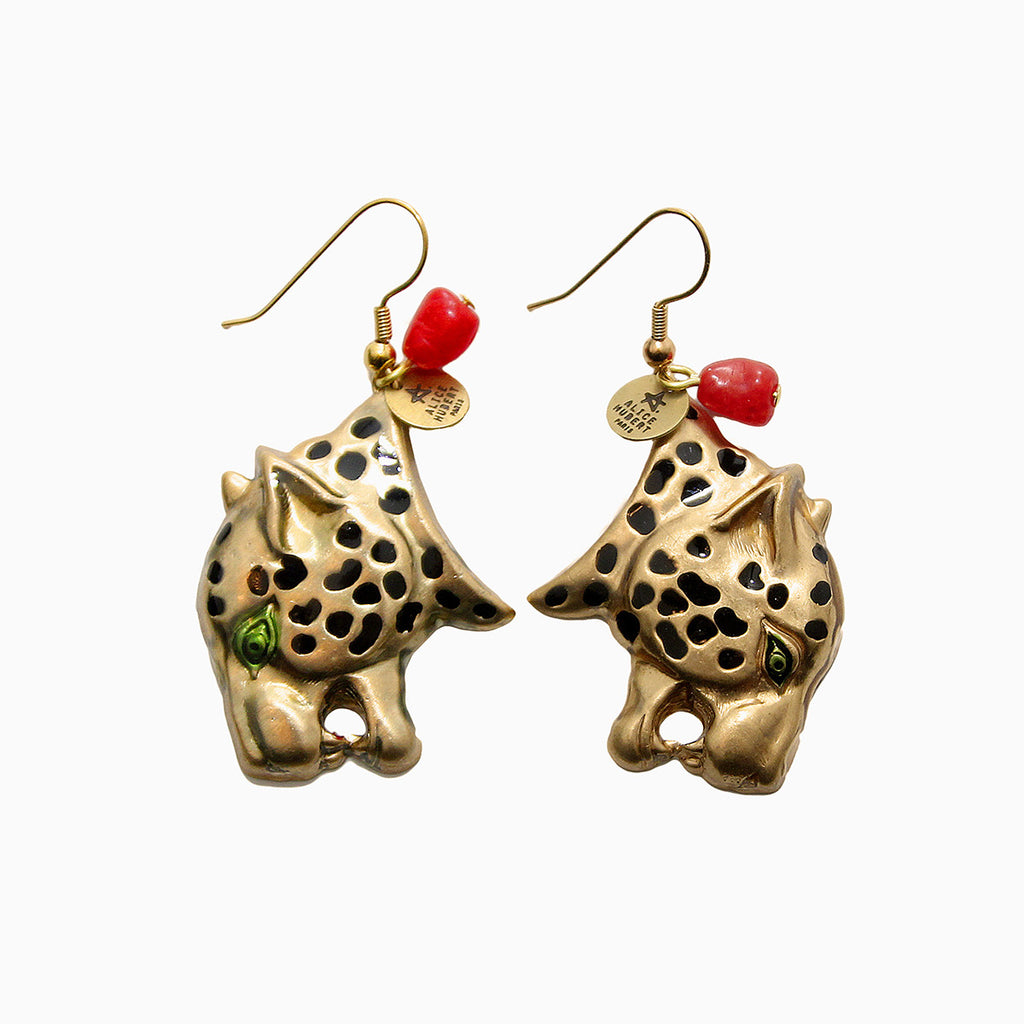 Handmade Gold Earrings Panther Jungle Alice Hubert - Alice Hubert