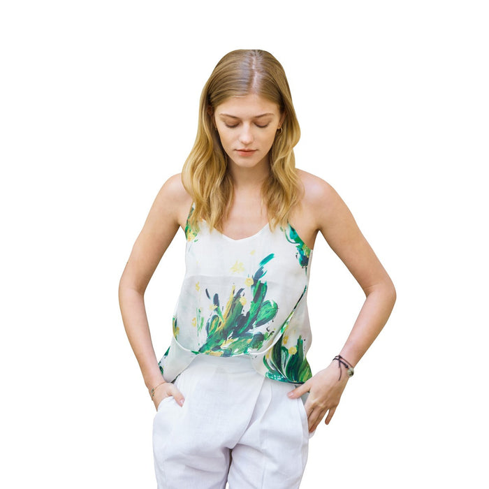 White Cotton Cami Top With Green Cactus Print Gloria Sunday Life