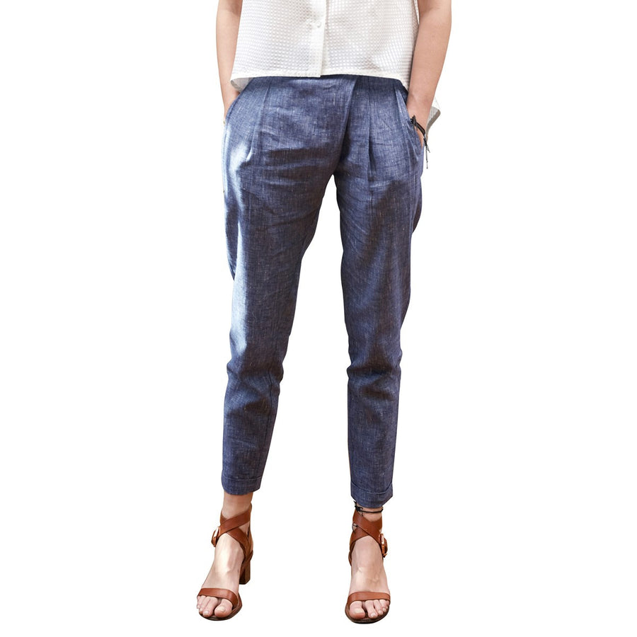 Women Linen Trousers Blue Wrap Front Miguel Sunday Life