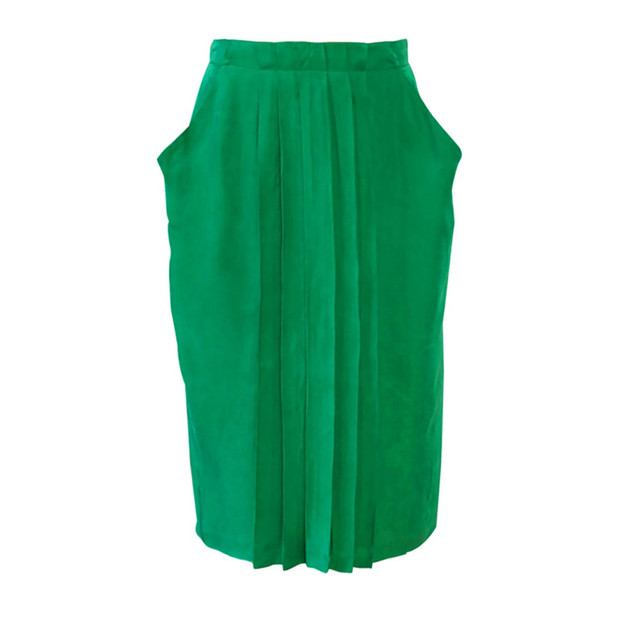 Green Pleated Under The Knee Skirt Carlota Sunday Life