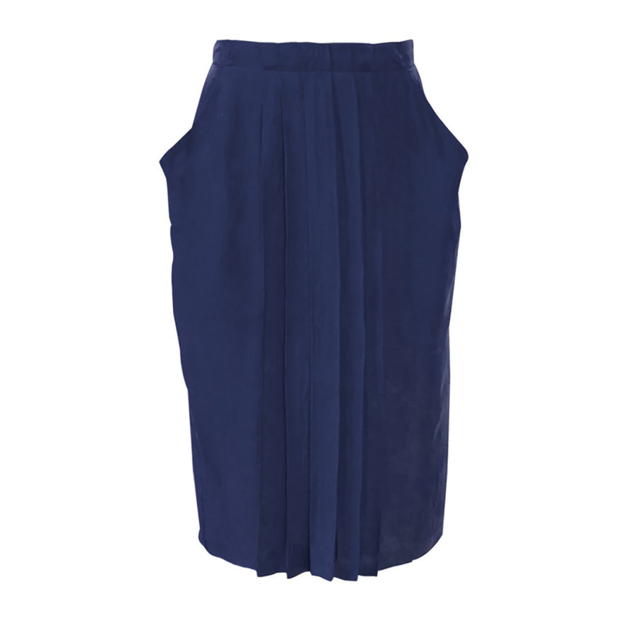 Navy Blue Pleated Under The Knee Skirt Carlota Sunday Life