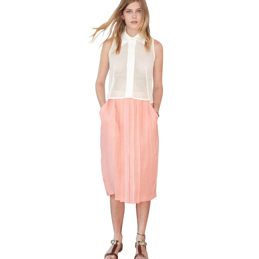 Light Pink Pleated Under The Knee Skirt Carlota Sunday Life