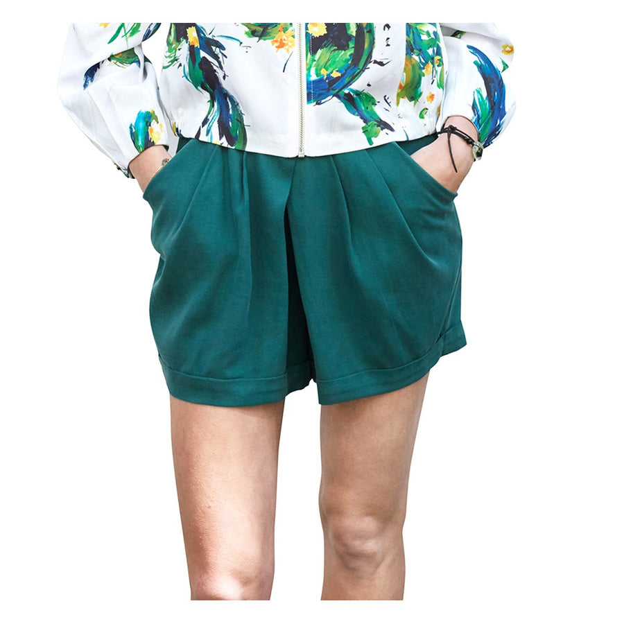 Women Green Wool Shorts Juan Sunday Life