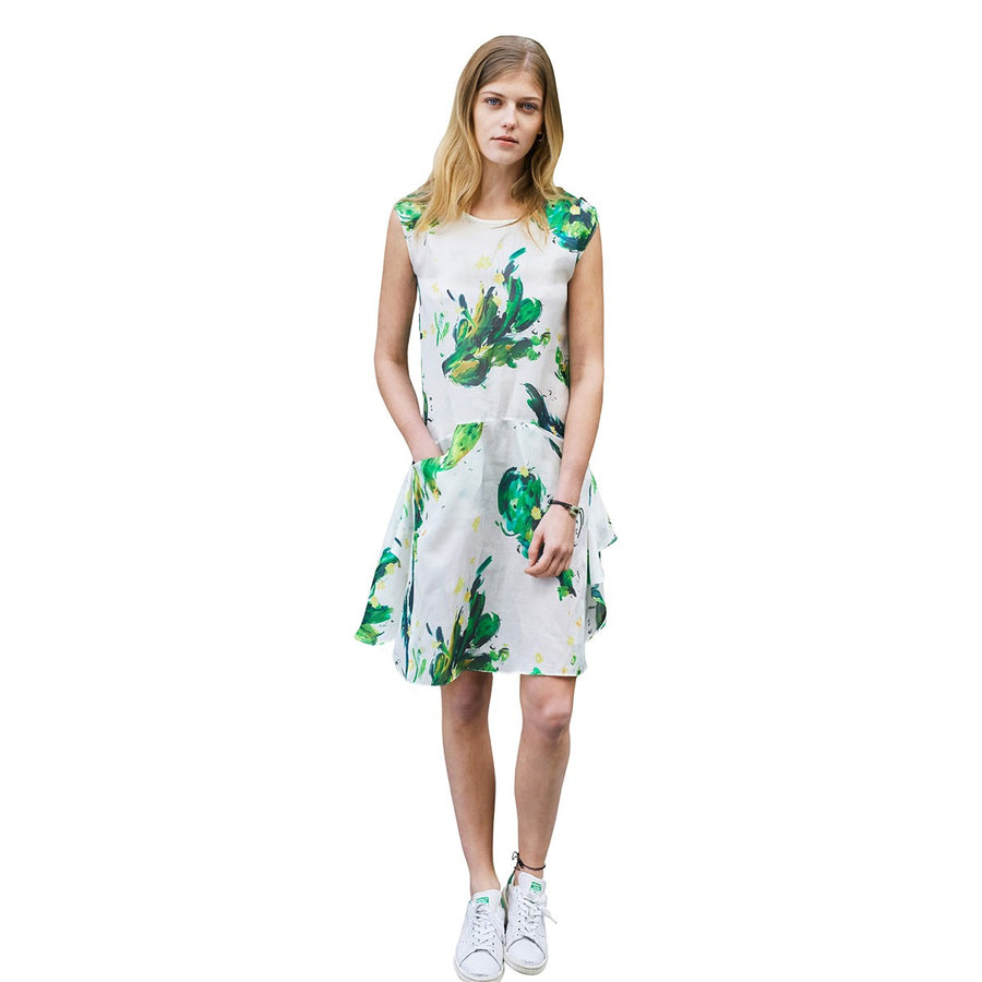 White Silk Dress With Green Cactuss Print Anais Sunday Life