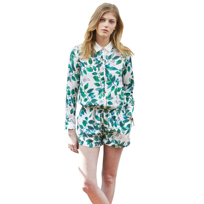 White Long Sleeved Playsuit With Green Leaf Print Combi Lucia Sunday Life