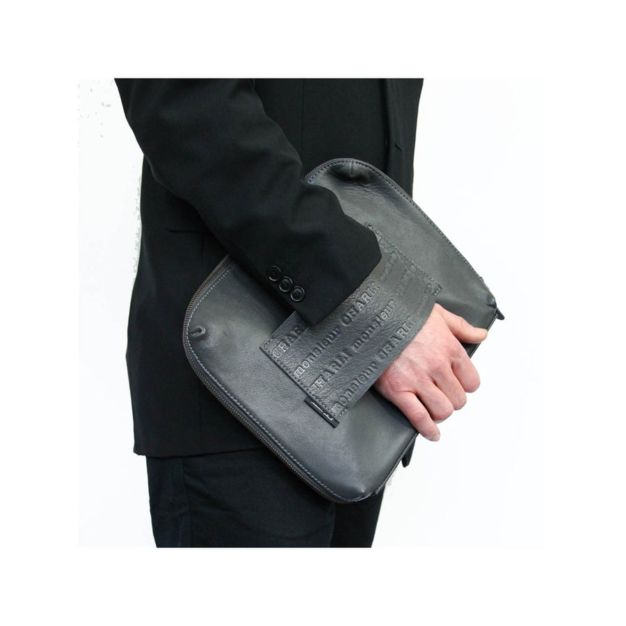 Men's Grey Leather Laptop bag Appolon - Monsieur Charli