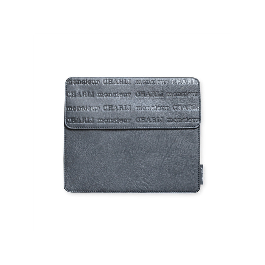 Men's Grey Leather Cover for Ipad Aristide - Monsieur Charli