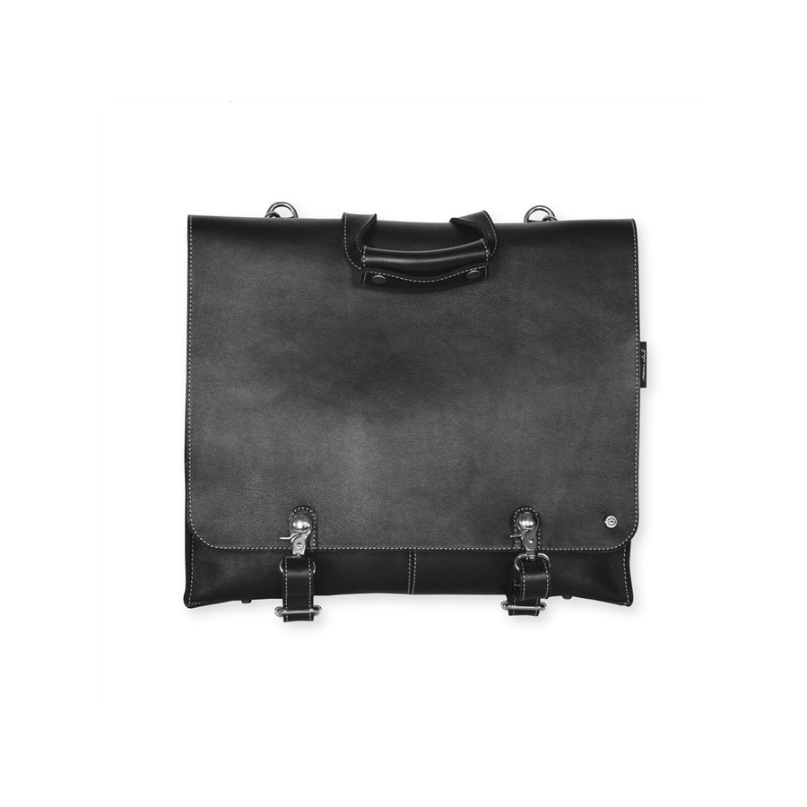 Mens Black 24H Leather Bag Cheyenne - Monsieur Charli
