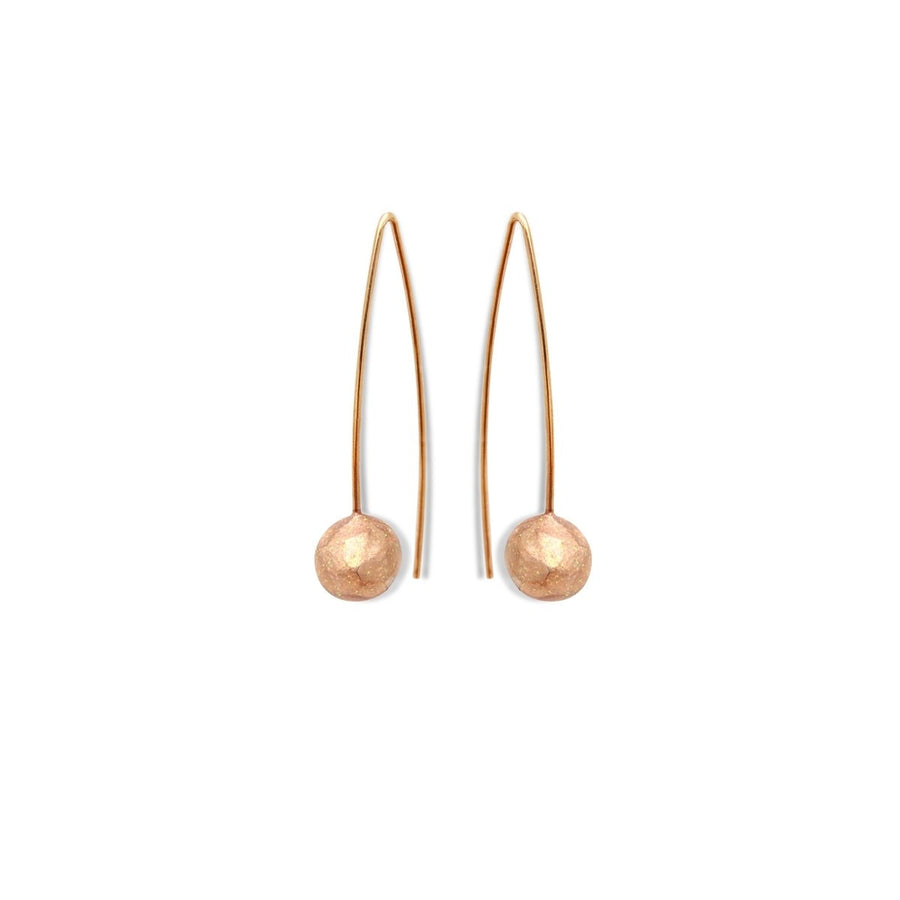 Long earrings gilded in fine gold Pearl - Little Woman Paris