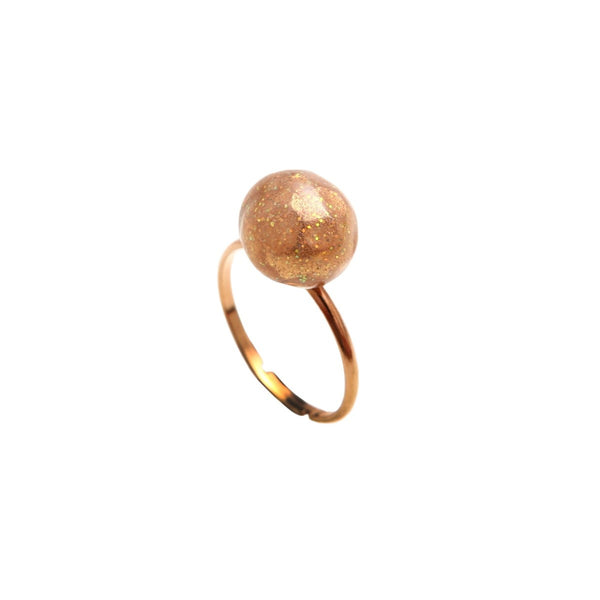 Handmade Ring in tin gilded in fine gold Pearl - Little Woman Paris
