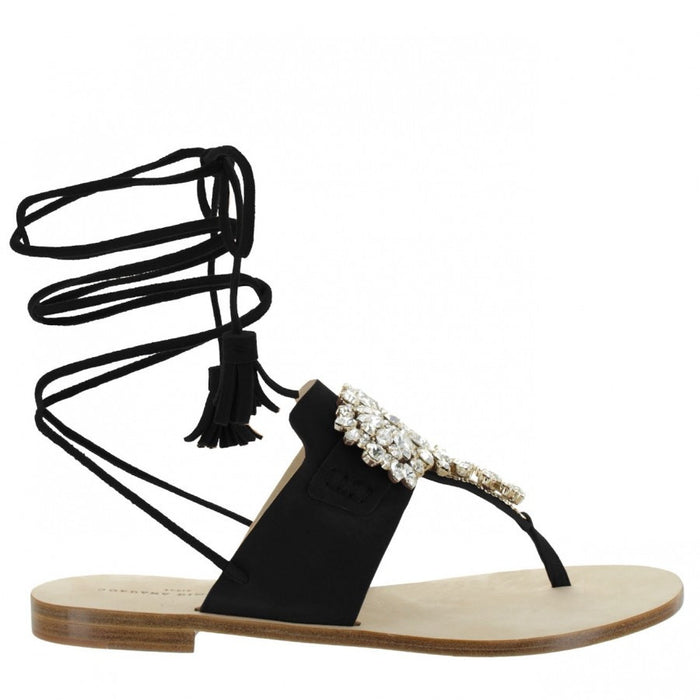 Women's Flat Black Lace-up Sandals Kate by Gordana Dimitrijevic