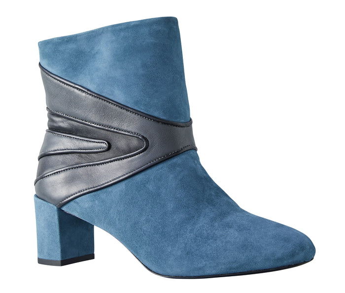 Suede Petrol blue & Dark grey boots Model #7 by NaRae Paris