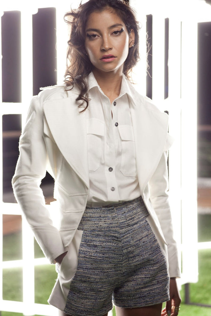 White Bicker Jacket for Women by Philippe Perisse