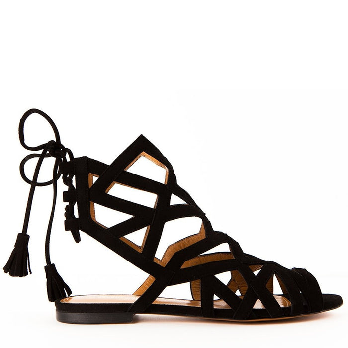 Samantha Black Lace-up Women's Flat Sandals by Gordana Dimitrijevic