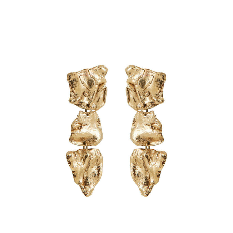 Gold Plated Squelette Earrings by Marion Fillancq