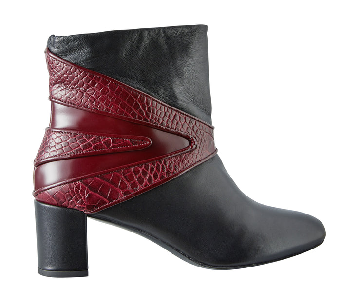 Black and Burgundy boots Model #7 by NaRae Paris