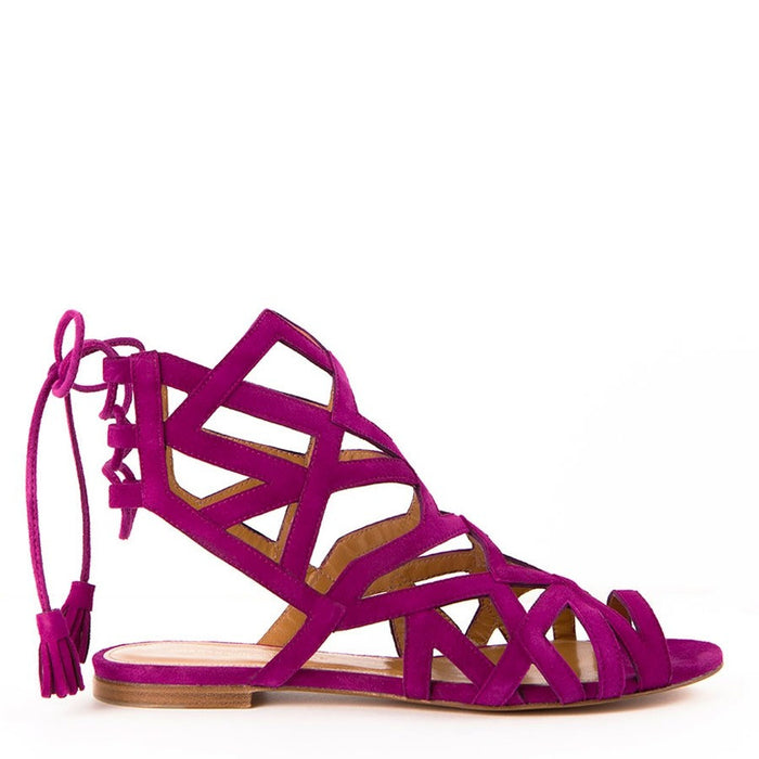 Samantha Fuchsia Lace-up Women's Flat Sandals by Gordana Dimitrijevic