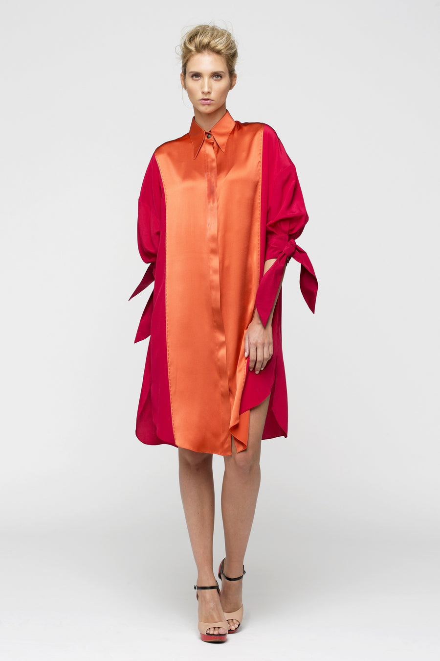 Meridian Satin-Silk Fuschia/Orange Tunic Shirt Women by Lucie Brochard