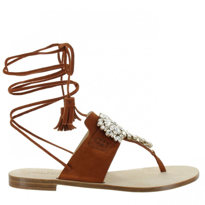 Women's Flat Camel Lace-up Sandals Kate by Gordana Dimitrijevic