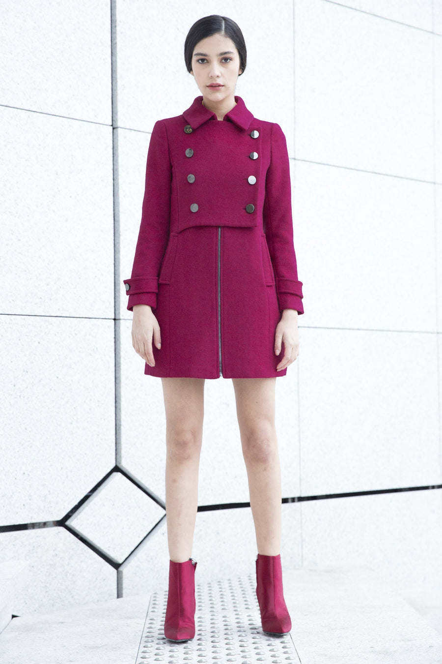 Wool Fuschia Coat Danielle by Sunday Life