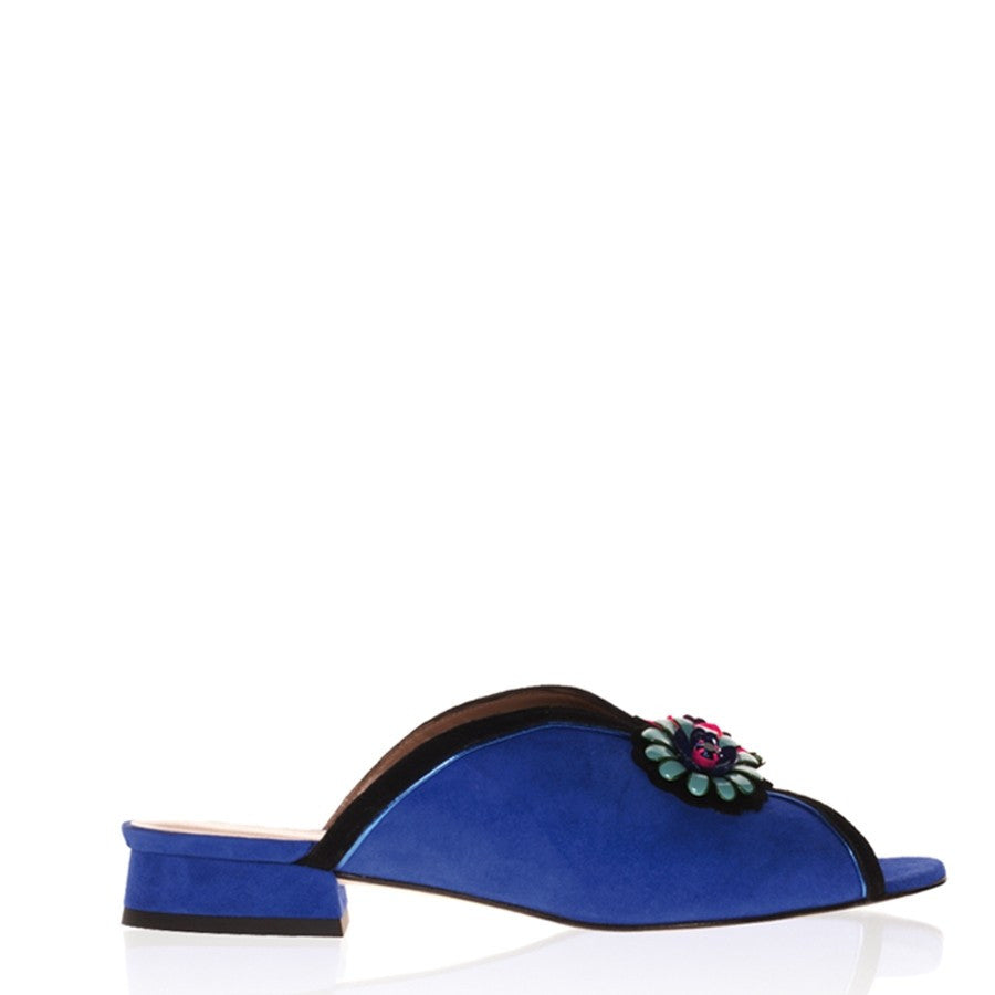 Suede Slip-on women's bleu sandals Yvette by Gordana Dimitrijevic