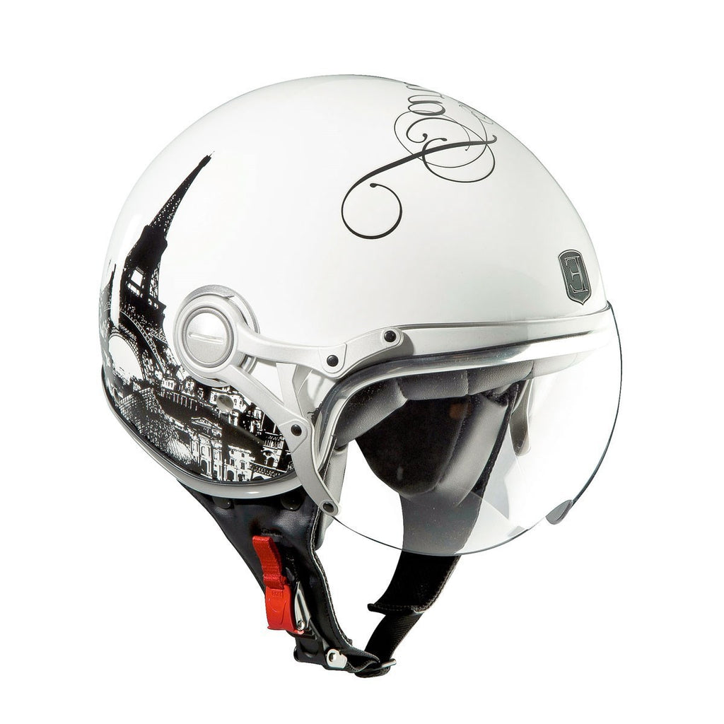 Exklusiv Motorcycle Helmet Paris design Freeway White - exklusiv