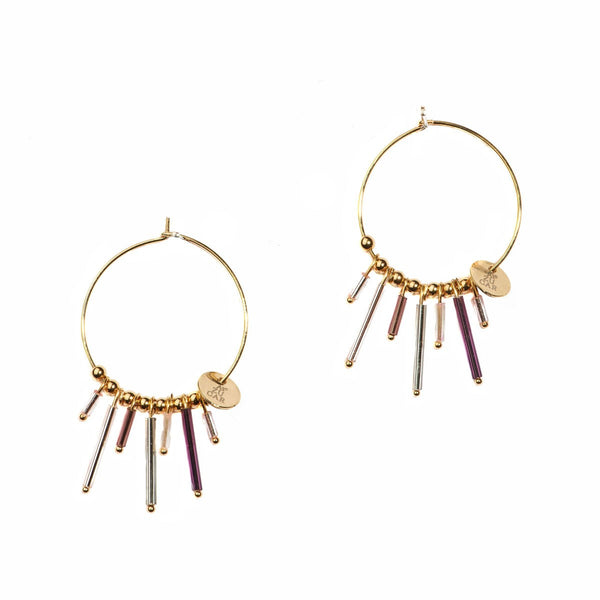 Handmade Gold Creoles Gwen Earrings with tube seed beads Azucar Bijoux - Azucar Bijoux