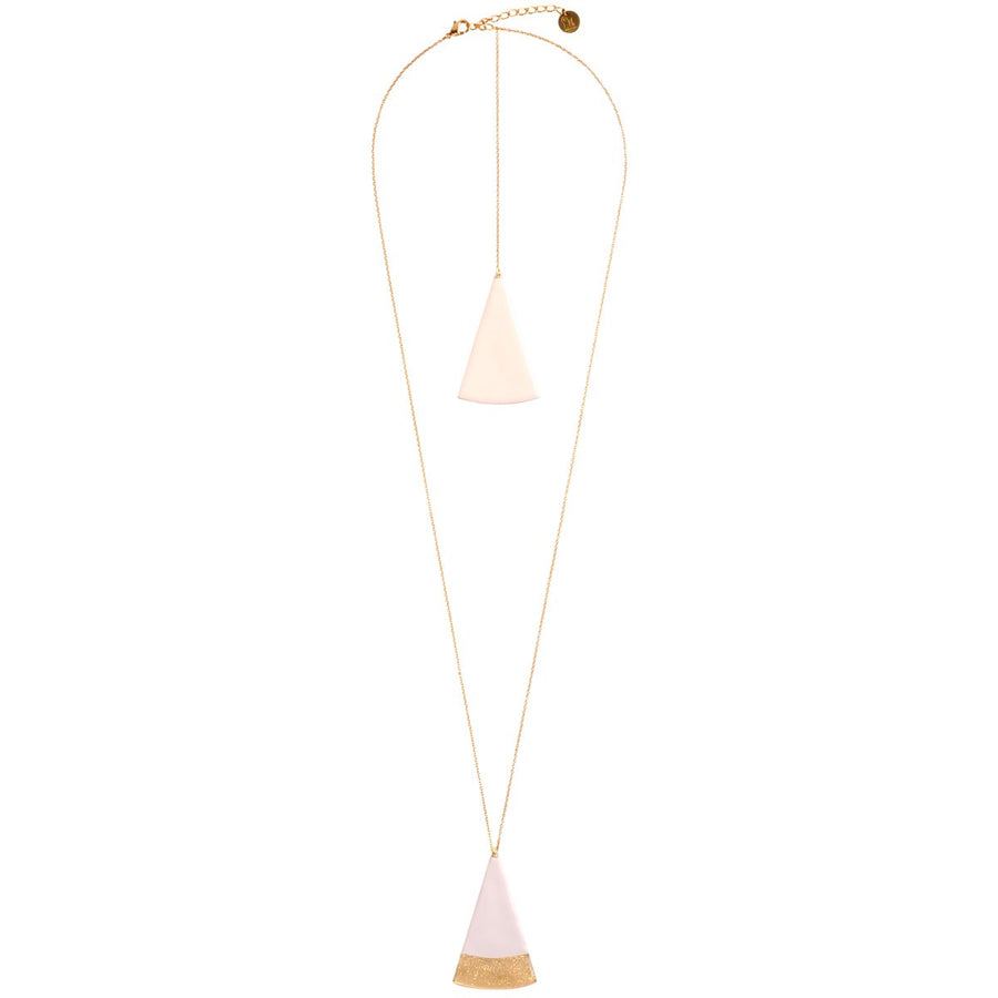 Long Necklace Gilded With Fine Gold Two Triangles Little Woman Paris - Little Woman Paris