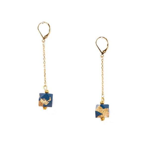 Geo Earrings Blue Marine - Azucar Bijoux