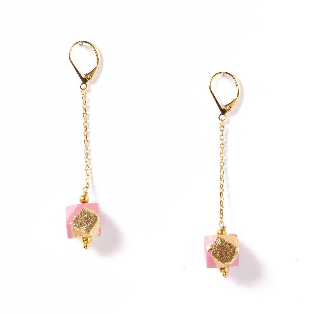 Geo Earrings Rose - Azucar Bijoux