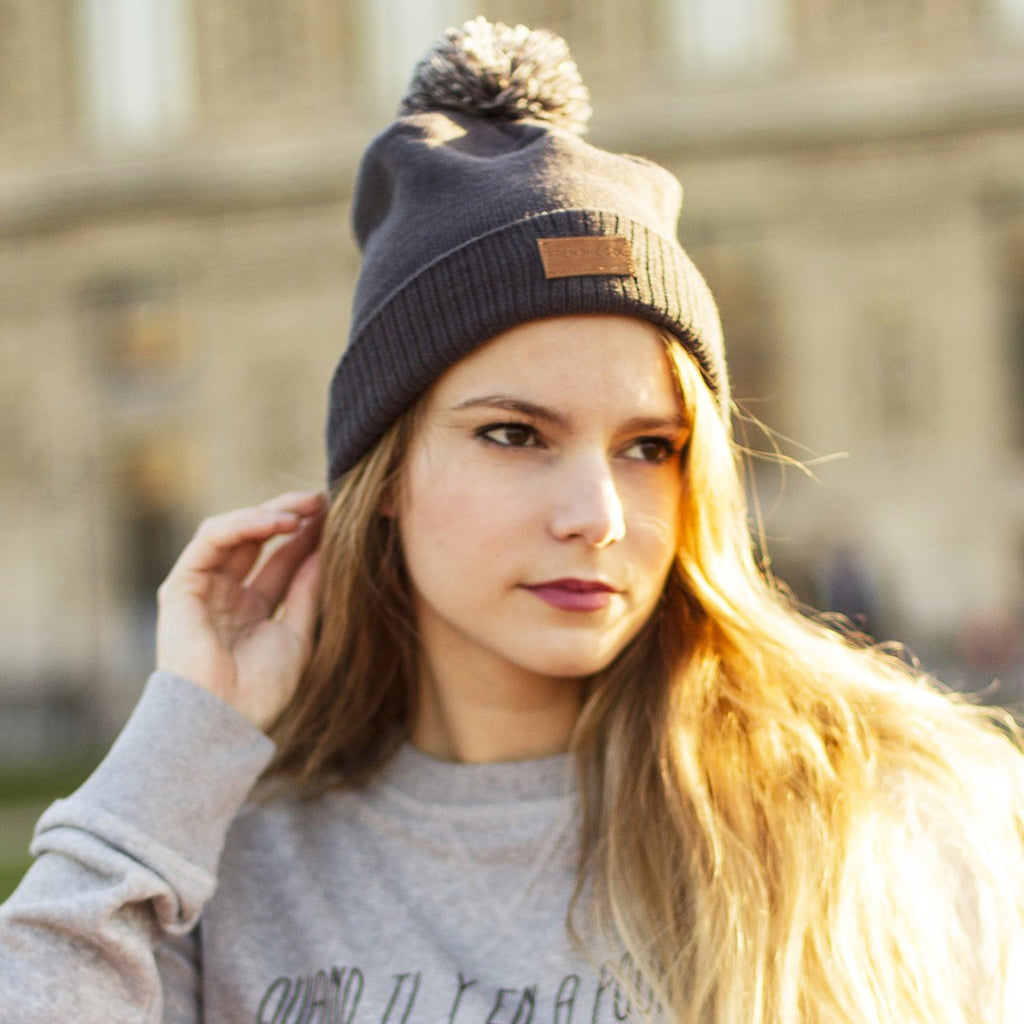 Frenchcool Life Pompon Beanie grey