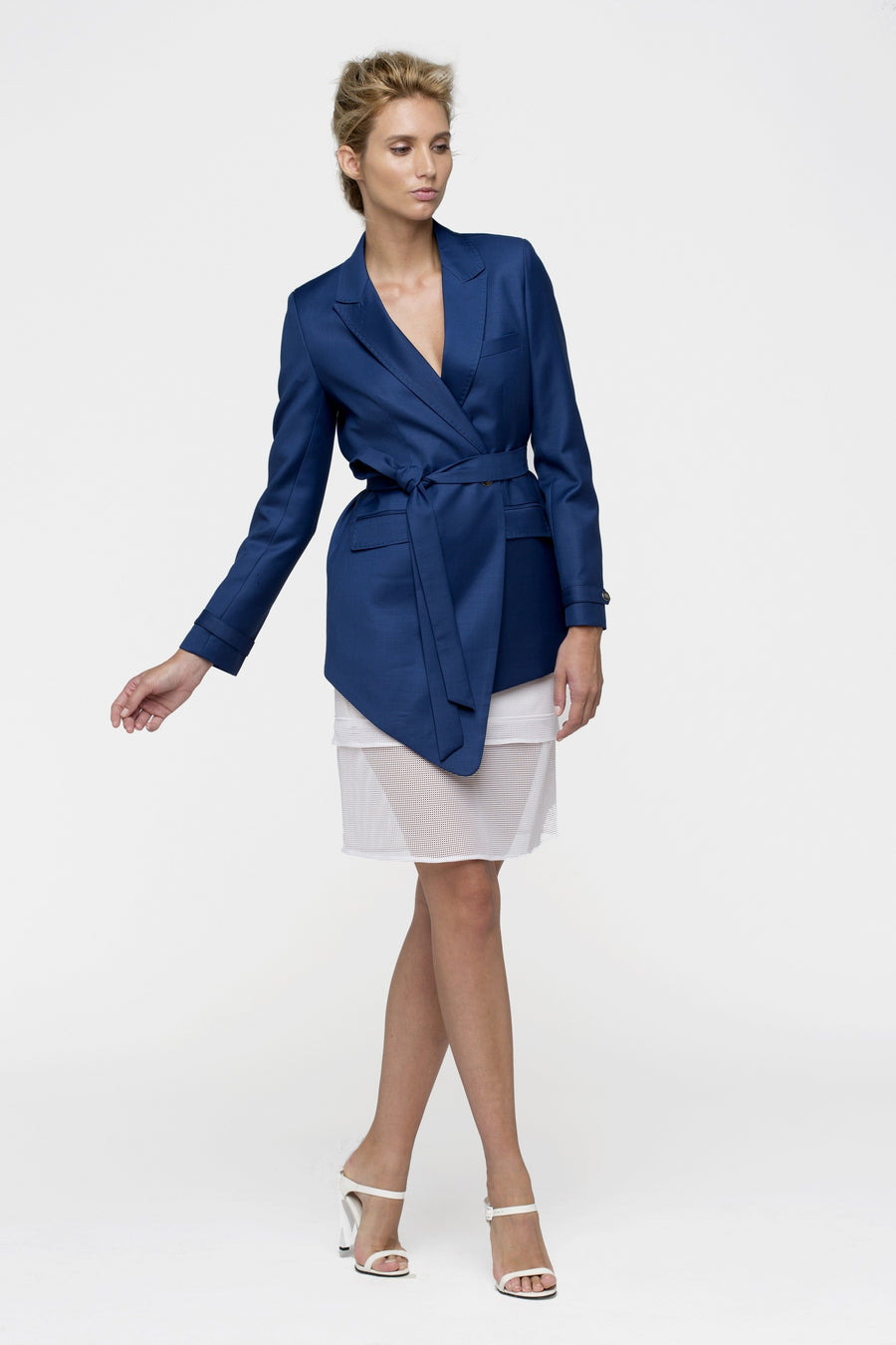 Blue Navy Satin Silk Belted Asymetric Jacket Women By Lucie Brochard