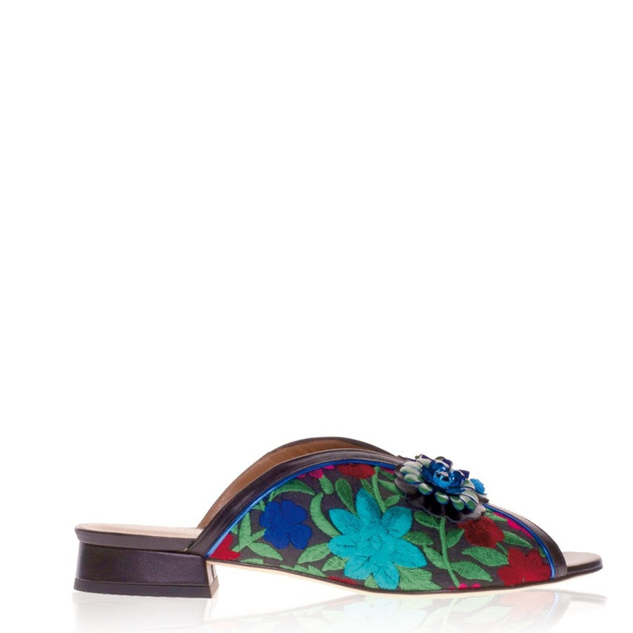 Suede Slip-on women's embroidered sandals Yvette by Gordana Dimitrijevic