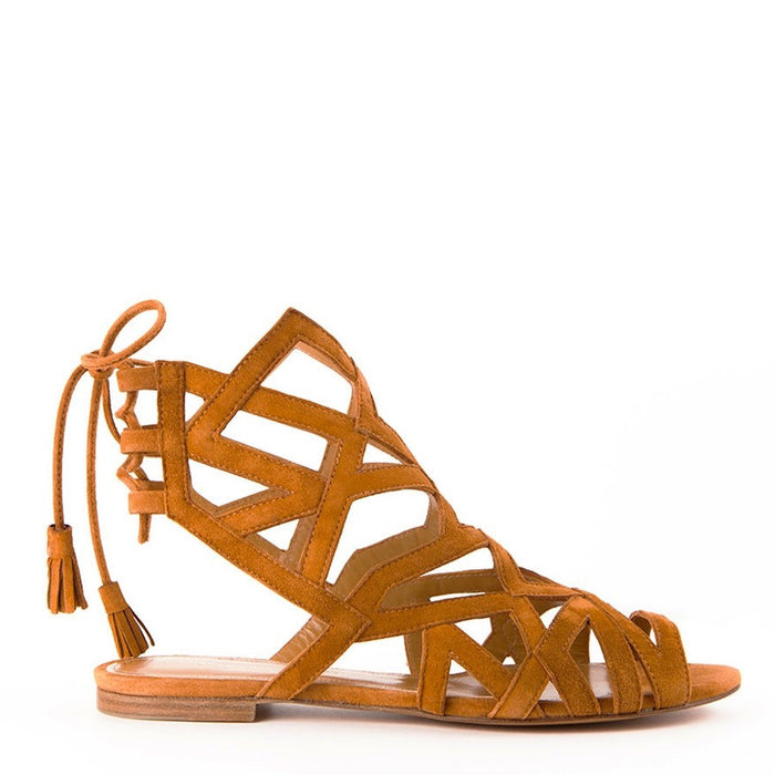 Samantha Camel Lace-up Women's Flat Sandals by Gordana Dimitrijevic