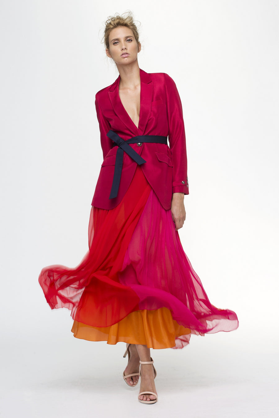 Fuschia Silk Kar Long Skirt by LUCIE BROCHARD.vô