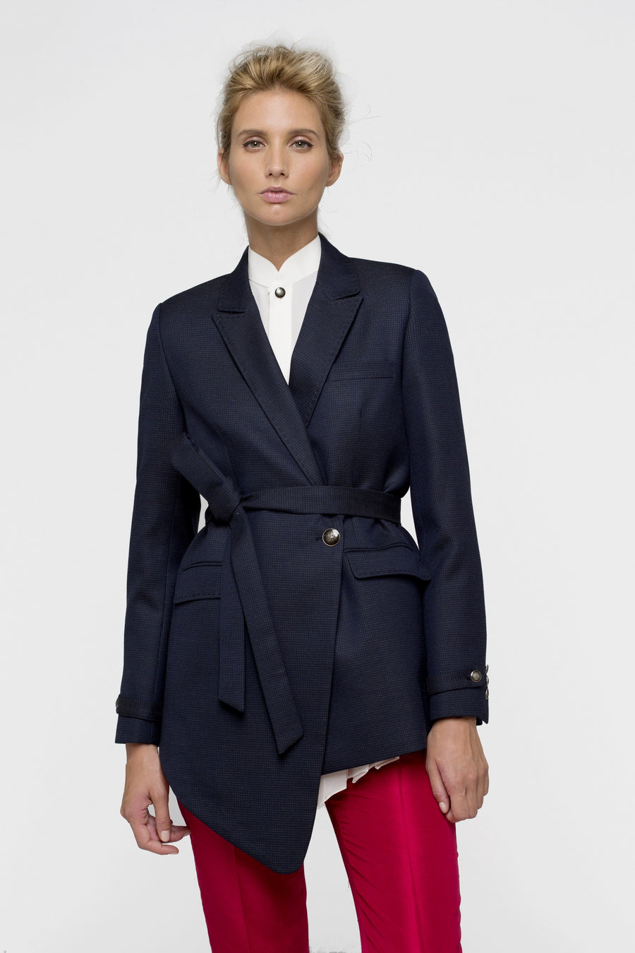 Blue Lagon Wool Belted Asymetric Jacket for Women By Lucie Brochard